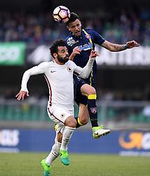 VERONA, May 21, 2017  Roma's Mohamed Salah (L) competes with Chievo Verona's Ivan Radovanovic during a Serie A soccer match in Verona, Italy, May 20, 2017. Roma won 5-3. (Credit Image: © Alberto Lingria/Xinhua via ZUMA Wire)