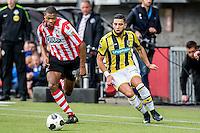ROTTERDAM - Sparta - Vitesse , Voetbal , Eredivisie , Seizoen 2016/2017 , Het Kasteel , 11-12-2016 ,  eindstand 3-1 , Sparta speler Denzel Dumfries (l) in duel met Vitesse speler Adnane Tighadouini (r)