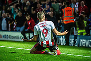 Sunderland Charlie Wyke celebrates his goal during the EFL Sky Bet League 1 match between Rochdale and Sunderland at the Crown Oil Arena, Rochdale, England on 20 August 2019.
