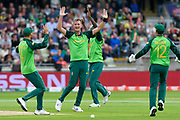 Wicket - Chris Morris of South Africa celebrates taking the wicket of Tom Latham of New Zealand during the ICC Cricket World Cup 2019 match between New Zealand and South Africa at Edgbaston, Birmingham, United Kingdom on 19 June 2019.