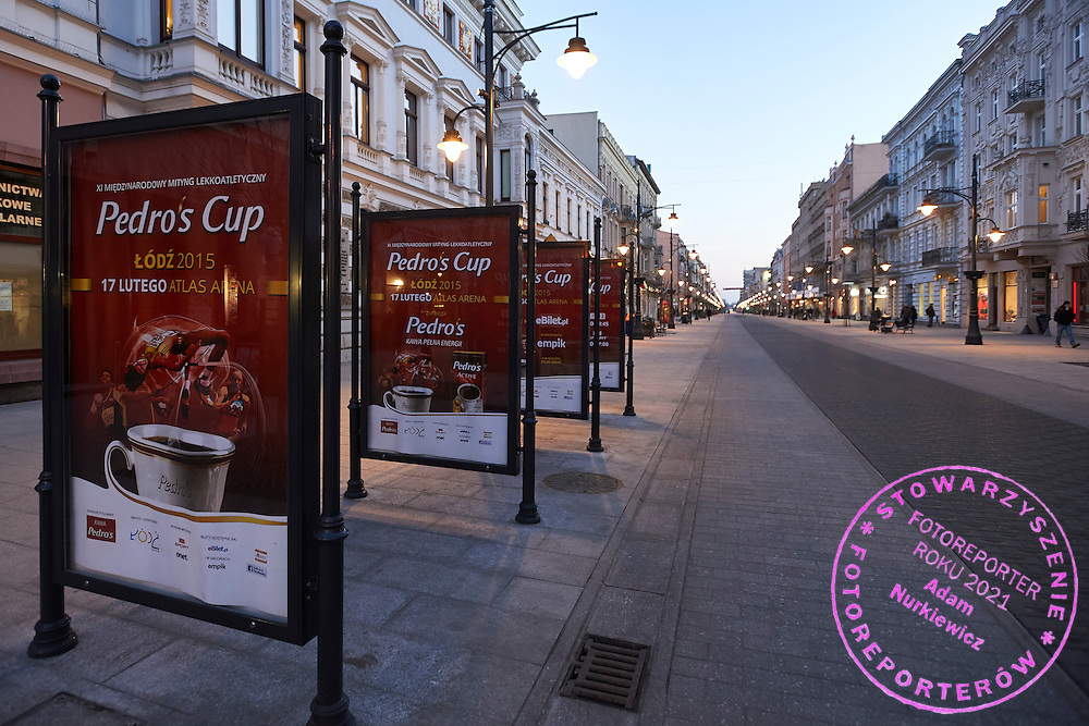 Official billboards of Pedro's Cup on Piotrowska street, main street of Lodz one day before athletics meeting Pedro's Cup at Atlas Arena in Lodz, Poland.<br /> <br /> Poland, Lodz, February 16, 2015<br /> <br /> Picture also available in RAW (NEF) or TIFF format on special request.<br /> <br /> For editorial use only. Any commercial or promotional use requires permission.<br /> <br /> Adam Nurkiewicz declares that he has no rights to the image of people at the photographs of his authorship.<br /> <br /> Mandatory credit:<br /> Photo by &copy; Adam Nurkiewicz / Mediasport