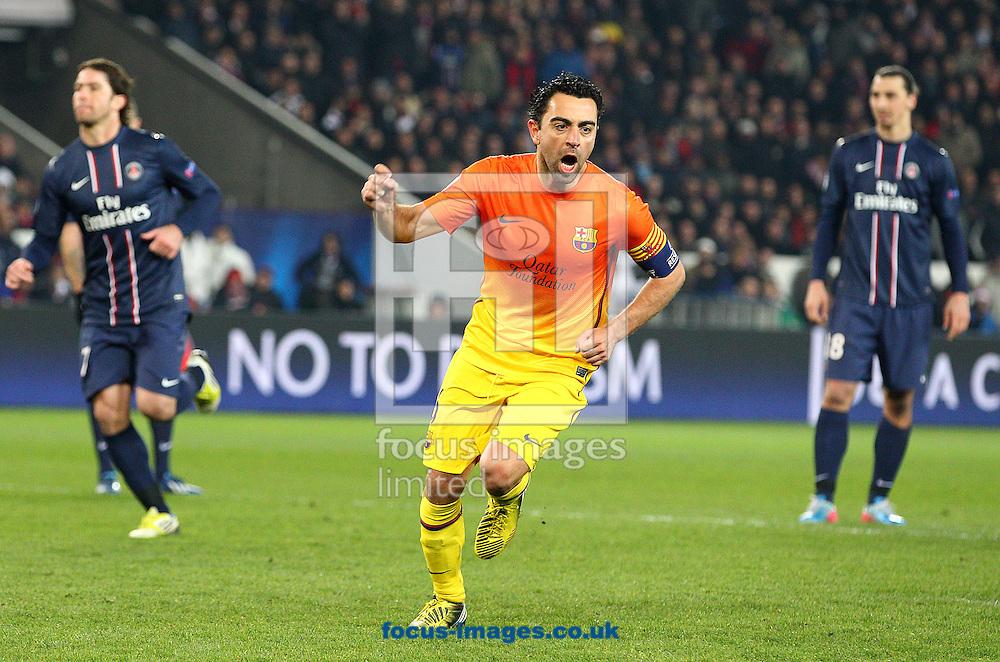Picture by Paul Terry/Focus Images Ltd +44 7545 642257.02/04/2013.Xavi Hernandez of FC Barcelona celebrates after scoring to make it 2-1 during the UEFA Champions League match at Parc des Princes, Paris.