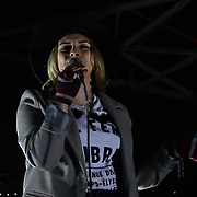 Milli Hannington at Sleep Out fundraiser to help homeless young people at Greenwich Peninsula Quay on 15 November 2018, London, UK.