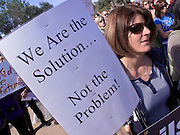 Feb 14, 2009 -- PHOENIX, AZ: MARY ROBERTS, from Cave Creek, AZ, protests planned budget cuts in public education at the Arizona State Capitol Saturday. About 1,000 people from across Arizona came to the State Capitol Saturday, Feb 14, to rally in favor of state funding for public schools and against budget cuts planned by the Arizona State Legislature. Arizona ranks 49th out of 50 states in per capita spending on public schools. Arizona is facing a massive budget deficit and legislators are expected to cut many state services, including public schools, to balance the budget. Photo by Jack Kurtz / ZUMA Press