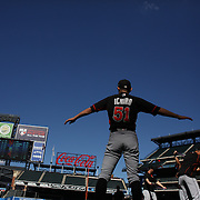 NEW YORK, NEW YORK - July 05: Ichiro Suzuki #51 of the Miami Marlins warming up before batting practice during the Miami Marlins Vs New York Mets regular season MLB game at Citi Field on July 05, 2016 in New York City. (Photo by Tim Clayton/Corbis via Getty Images)