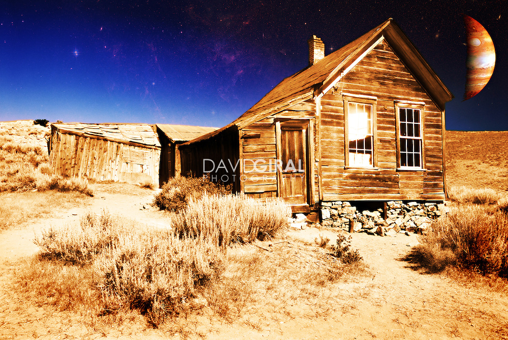 Highly edited image of an old house in the ghost town of Bodie, lost in the Sierra in California, north of Mono Lake