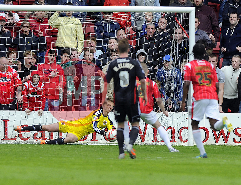 Bristol City's Simon Moore saves the penalty of Walsall's Sam Mantom  - Photo mandatory by-line: Joe Meredith/JMP - Mobile: 07966 386802 12/04/2014 - SPORT - FOOTBALL - Walsall - Banks' Stadium - Walsall v Bristol City - Sky Bet League One