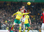 Sheffield United's Enda Stevens and Norwich City's Harrison Reed during the EFL Sky Bet Championship match between Norwich City and Sheffield Utd at Carrow Road, Norwich, England on 20 January 2018. Photo by John Marsh.