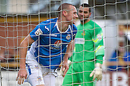 James Constable of Eastleigh (left) celebrates scoring their first goal to make it Southport 0 Eastleigh 1 during the The FA Cup match at Haig Avenue, Southport<br /> Picture by Ian Wadkins/Focus Images Ltd +44 7877 568959<br /> 07/12/2014