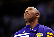 Feb. 19, 2012; Phoenix, AZ, USA;  Los Angeles Lakers guard Kobe Bryant (24) warms up prior to the first half against the Phoenix Suns at the US Airways Center.  Mandatory Credit: Jennifer Stewart-US PRESSWIRE.