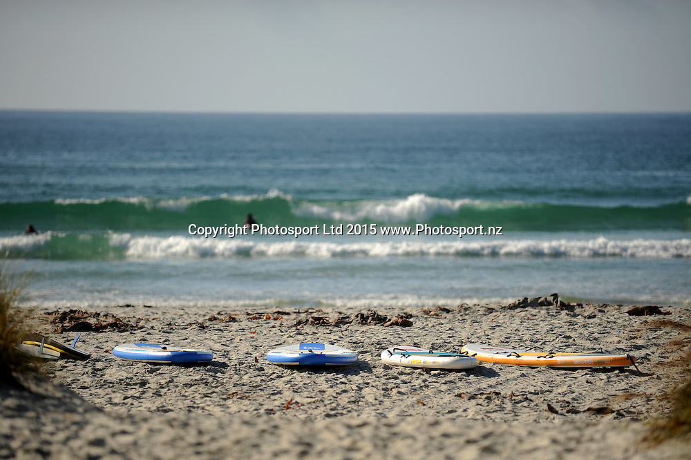 A view of the paddle boards, during the Dunedin Flight Centre Foundation Halberg Water Sports Day, held at Brighton Beach, Dunedin, New Zealand, 27 February 2016. Copyright Image: Joe Allison / www.Photosport.nz