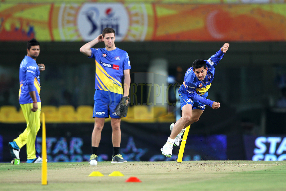 Mohit Sharma of The Chennai Superkings  during practice before  match 21 of the Pepsi Indian Premier League Season 2014 between the Chennai Superkings and the Kolkata Knight Riders  held at the JSCA International Cricket Stadium, Ranch, India on the 2nd May  2014<br /> <br /> Photo by Deepak Malik / IPL / SPORTZPICS<br /> <br /> <br /> <br /> Image use subject to terms and conditions which can be found here:  http://sportzpics.photoshelter.com/gallery/Pepsi-IPL-Image-terms-and-conditions/G00004VW1IVJ.gB0/C0000TScjhBM6ikg