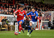 Jaydon Gibbs and Scott Tanser during the The FA Cup match between Aldershot Town and Rochdale at the EBB Stadium, Aldershot, England on 7 December 2014.