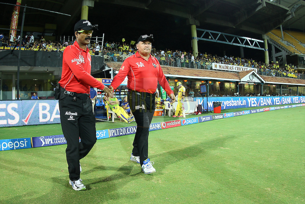 The umpires take to the field during match 47 of the Pepsi IPL 2015 (Indian Premier League) between The Chennai Superkings and The Rajasthan Royals held at the M. A. Chidambaram Stadium, Chennai Stadium in Chennai, India on the 10th May 2015.<br /> <br /> Photo by:  Ron Gaunt / SPORTZPICS / IPL