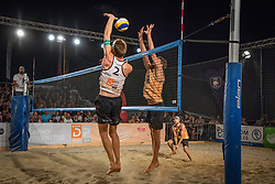 Danijel Pokersnik /Sergej Drobnic and Vid Jakopin / Tadej Bozenk during the match for 1st. place on Beach volley National Championship of Slovenia  on July 20, 2019 in Kranj, Slovenia. Photo by Urban Meglic / Sportida