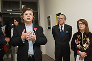 MIKE VON JOEL;  NESTOR OSORIO COLUMBIAN AMBASSADOR TO THE UK; CURATOR: SANDRA HIGGINS; ,;The New Face of Colombia, VIP Opening Party. Bermondsey Project Space. London. 9 November 2016
