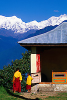 Young monks at the Pemayangtse Monastery (Mt. Kanchenjunga in background), West Sikkim, India