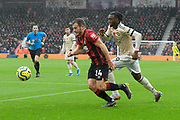 Ryan Fraser (24) of AFC Bournemouth on the attack during the Premier League match between Bournemouth and Manchester United at the Vitality Stadium, Bournemouth, England on 2 November 2019.