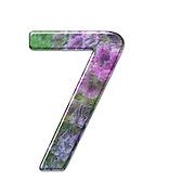 The number Seven Part of a set of letters, Numbers and symbols of 3D Alphabet made with a floral image on white background