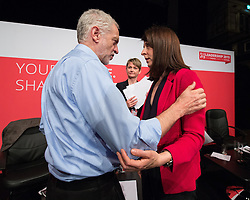© Licensed to London News Pictures . 25/07/2015 . Warrington , UK . JEREMY CORBYN , YVETTE COOPER , LIZ KENDALL after the Labour Party leadership hustings at Parr Hall in Warrington . Photo credit : Joel Goodman/LNP