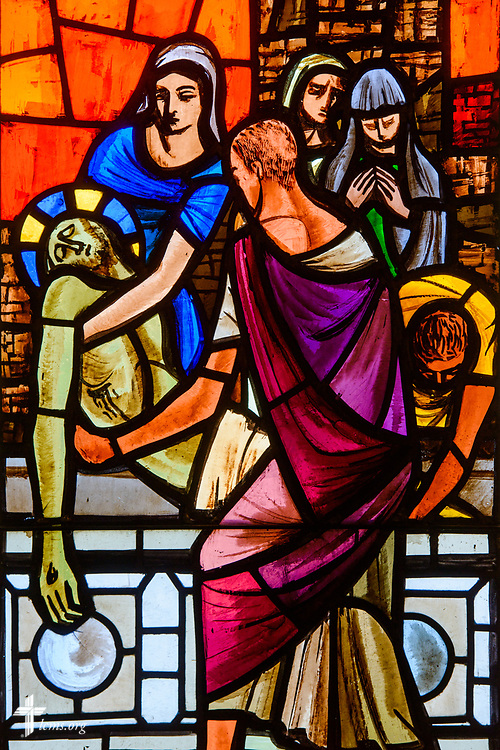 Stained glass depicting the death and burial of Jesus Christ at East Bethlehem Lutheran Church, Detroit, Mich., on Wednesday, June 21, 2017, in Detroit. LCMS Communications/Erik M. Lunsford