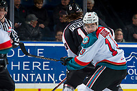 KELOWNA, CANADA - MARCH 7: Dillon Dube #19 of the Kelowna Rockets looks back at the puck after the face off against Tyler Popowich #13 of the Vancouver Giants on March 7, 2018 at Prospera Place in Kelowna, British Columbia, Canada.  (Photo by Marissa Baecker/Shoot the Breeze)  *** Local Caption ***