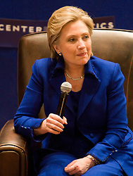 Senator Hillary Clinton (D-NY) was a guest speaker for Larry Sabato's American Politics class at Old Cabel Hall at the University of Virginia in Charlottesville, VA on February 10, 2008.  The class was presented by Sabato's UVA Center for Politics on the day before the Virginia primary.