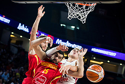 Martins Meiers of Latvia vs Filip Barovic of Montenegro during basketball match between National Teams of Latvia and Montenegro at Day 11 in Round of 16 of the FIBA EuroBasket 2017 at Sinan Erdem Dome in Istanbul, Turkey on September 10, 2017. Photo by Vid Ponikvar / Sportida