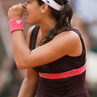 07 June 2007: Serbian player Ana Ivanovic reatcs after a point against Russian player Maria Sharapova during the French Tennis Open semi final won 6-2, 6-1 by Ana Ivanovic over Maria Sharapova on day 12 at Roland Garros, in Paris, France.