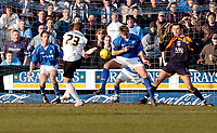Photo: Leigh Quinnell.<br /> Chesterfield v Southend United. Coca Cola League 1. 18/02/2006. Chesterfields Janos Kovacs handles Southends Freddy Eastmans shot, and is sent off.