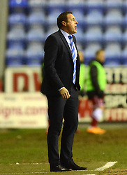 Wigan Athletic Manager, Malky Mackay shouts orders - Photo mandatory by-line: Richard Martin-Roberts/JMP - Mobile: 07966 386802 - 24/02/2015 - SPORT - Football - Wigan - DW Stadium - Wigan Athletic v Cardiff City - Sky Bet Championship