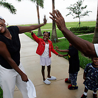 Hurricane Katrina evacuees at Florida shelter photographed for People Magazine.