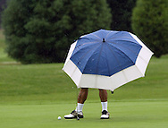 Sumio Nagano of Kent, Wash. checks his putt while playing a round of golf during a rain storm. (Photo, John Froschauer)