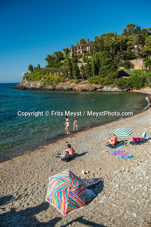 Maremma, Tuscany, Italy, July 2016. A beach close to Porto Santo Stefano. The shoreline of Tuscany is at its best in the Maremma region; the name derives from Marittima, referring to the rugged coastal strip and inland hills of the Grosseto, Tuscany's southernmost province.  Photo by Frits Meyst / MeystPhoto.com