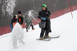 Workers preparing the track before the 1st Run of Men's Slalom - Pokal Vitranc 2013 of FIS Alpine Ski World Cup 2012/2013, on March 10, 2013 in Vitranc, Kranjska Gora, Slovenia.  (Photo By Vid Ponikvar / Sportida.com)