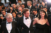 David Cronenberg, Robert Pattinson, Juliette Binoche,  at the Cosmopolis gala screening at the 65th Cannes Film Festival France. Cosmopolis is directed by David Cronenberg and based on the book by writer Don Dellilo.  Friday 25th May 2012 in Cannes Film Festival, France.