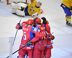 11.05.2012, Ericsson Globe, Stockholm, SWE, IIHF, Eishockey WM, Russland (RUS) vs Schweden (SWE), im Bild, Russia 11 Yevgeni Malkin (Pittburgh Penguins) GOAL celebration // during the IIHF Icehockey World Championship Game between Russia (RUS) and Sweden (SWE) at the Ericsson Globe, Stockholm, Sweden on 2012/05/11. EXPA Pictures © 2012, PhotoCredit: EXPA/ PicAgency Skycam/ Simone Syversson..***** ATTENTION - OUT OF SWE *****
