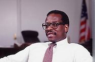 Clarence Thomas working at the Department of Education in 1982..Photograph by Dennis Brack bb 19