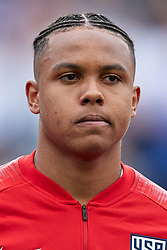 May 28, 2018 - Chester, PA, U.S. - CHESTER, PA - MAY 28: United States midfielder Weston McKennie (6) looks on during the national anthem prior to the start of the international friendly match between the United States and Bolivia at the Talen Energy Stadium on May 28, 2018 in Chester, Pennsylvania. (Photo by Robin Alam/Icon Sportswire) (Credit Image: © Robin Alam/Icon SMI via ZUMA Press)