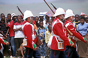 The Dundee Diehards perform the Red Coat Marching drill in front of the crowd before the battle. South Africa. Kwa Zulu Natal. .©Zute Lightfoot.DVD0018