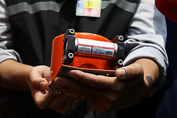 November 1, 2018 - Jakarta, Indonesia - Head of the National SAR Agency, Vice Marshal Syaugi, shows the Lion Air JT610 flight data recorder to media crew on the Baruna Jaya I research vessel at Karawang bay, West java, on November 1, 2018. The join SAR team succesfully find and evacuated the Lion Air B737 Max 8 flight data recorder on the 4th day of SAR operation after the aircraft crash on the Karawang bay, minutes after take off from Jakarta. (Credit Image: © Aditya Irawan/NurPhoto via ZUMA Press)
