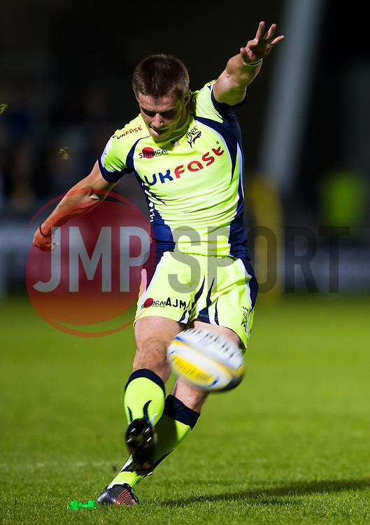 AJ MacGinty of Sale Sharks scores a conversion - Mandatory by-line: Matt McNulty/JMP - 15/09/2017 - RUGBY - AJ Bell Stadium - Sale, England - Sale Sharks v London Irish - Aviva Premiership
