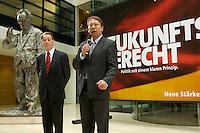 """26 APR 2004, BERLIN/GERMANY:<br /> Franz Muentefering (L), SPD Parteivorsitzender, und Klaus Uwe Benneter (R), SPD Generalsekretaer, paesentieren zwei neuen Plakate fuer den Europawahlkampf mit den Slogans """"Zukunftsgerecht"""" und """"Friedensmacht"""", Willy-Brandt-Haus<br /> IMAGE: 20040426-01-016<br /> KEYWORDS: Franz Müntefering, Generalsekretär, Plakatpräsentation, Plakatpraesentation, Plakat, bill, Werbung, promotion"""