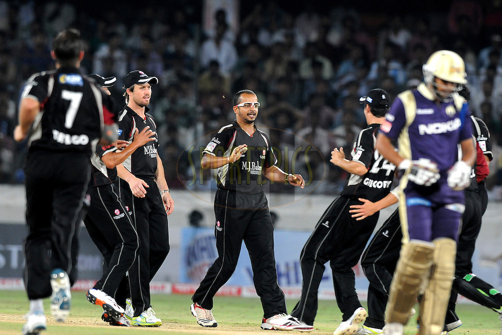 Murali Kartik of Somerset celebrate a wicket during the CLT20 - Q6 match between Kolkata Knight Riders and Somerset held at the Rajiv Gandhi International Stadium, Hyderabad on the 21st September 2011..Photo by Pal Pillai/BCCI/SPORTZPICS