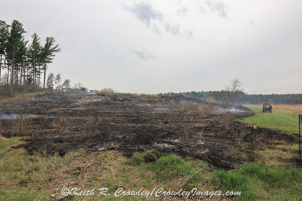 The immediate results of a controlled burn on the Twin Lakes Wildlife Area near New Richmond, Wisconsin, conducted by the Wisconsin Department of Natural Resources.