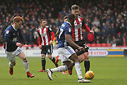 Lee Evans of Sheffield United (20) is closed down by Ben Brereton of Nottingham Forest (17) during the EFL Sky Bet Championship match between Sheffield United and Nottingham Forest at Bramall Lane, Sheffield, England on 17 March 2018. Picture by Mick Haynes.