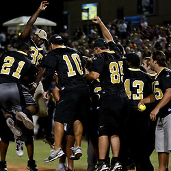 May 17, 2011; Metairie, LA, USA; New Orleans Saints running back Mark Ingram (21) celebrates following a homerun during the Heath Evans Foundation charity softball showdown featuring the offense versus the defensive players at Zephyrs Field.  Mandatory Credit: Derick E. Hingle