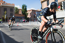 Annette Edmondson (AUS) of Wiggle High5 Cycling Team tackles a fast corner early on Stage 1 of the Madrid Challenge - a 12.6 km team time trial, starting and finishing in Boadille del Monte on September 15, 2018, in Madrid, Spain. (Photo by Balint Hamvas/Velofocus.com)