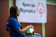 Volunteer with ball during of The Special Olympics Unified Volleyball Tournament at Ursynow Arena in Warsaw on August 27, 2014.<br /> <br /> Poland, Warsaw, August 27, 2014<br /> <br /> For editorial use only. Any commercial or promotional use requires permission.<br /> <br /> Mandatory credit:<br /> Photo by © Adam Nurkiewicz / Mediasport