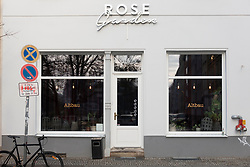 Exterior of Rose Garden restaurant and cafe in Mitte, Berlin, Germany